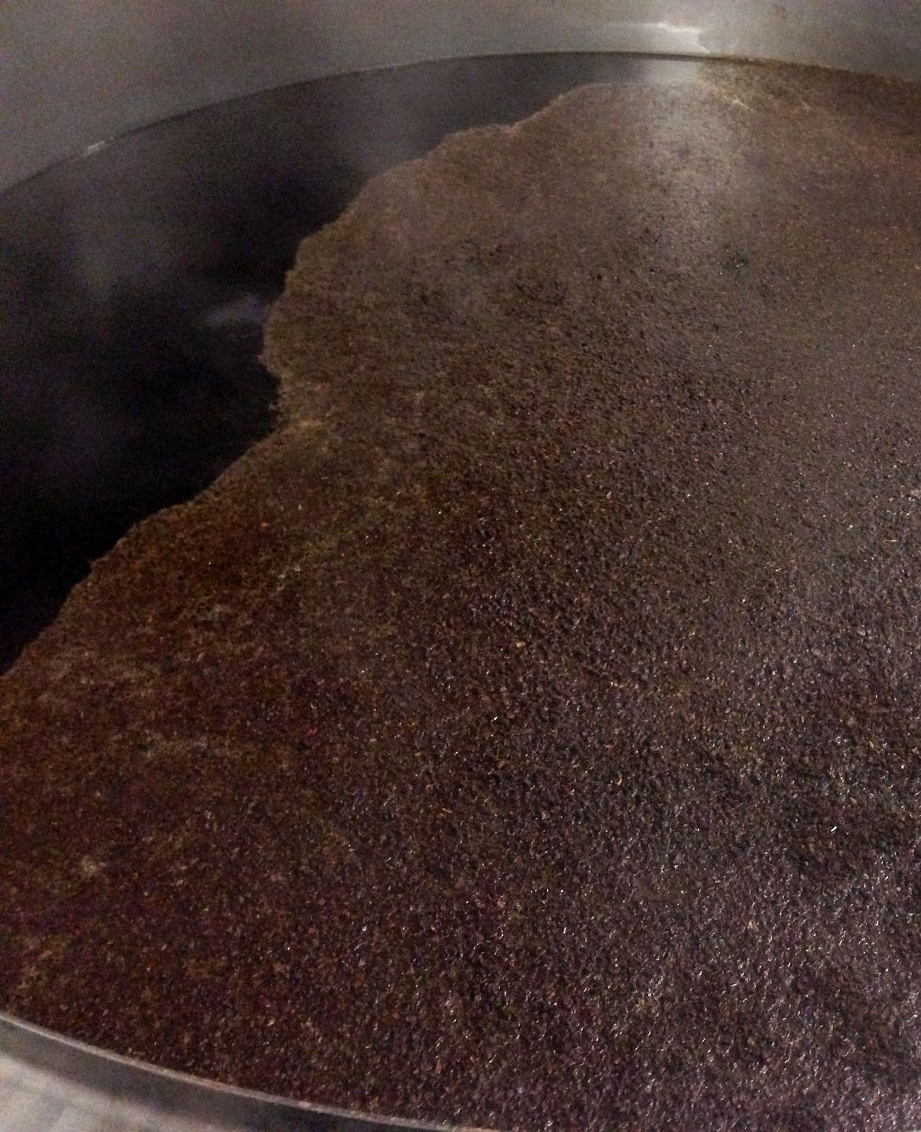 Ground coffee beans in the kettle